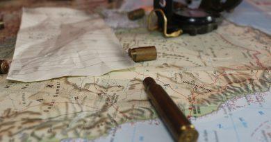 Obraz przedstawia mapę półwyspu arabskiego, na której leżą łuski i kompas.
