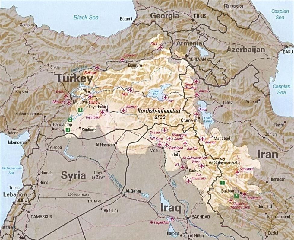 Mapa pokazuje zasięg terytorialny Kurdystanu