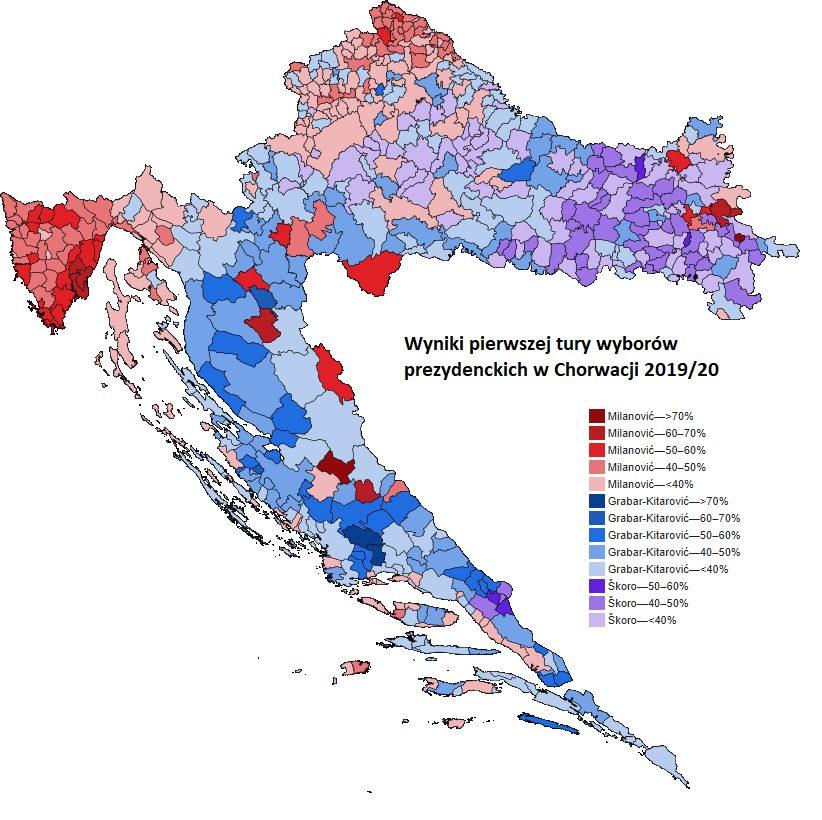 Rozkład głosów po I turze wyborów w Chorwacji.