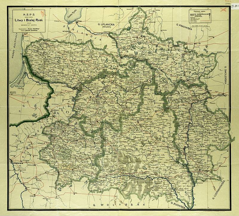mapa sześciu białoruskich i litewskich gubernii imperium rosyjskiego a początku XX wieku