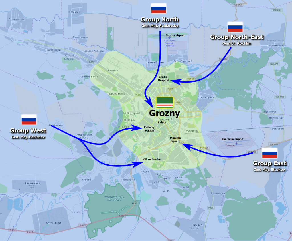 Mapa przedstawia kierunki natarcia rosyjskich kolumn wojskowych na miasto Grozny na przełomie 1994/1995 roku