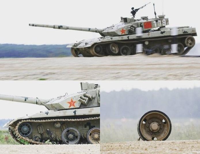 Widoczne uszkodzenia chińskiego czołgu ZTZ-96, konkurs biathlonu czołgowego 2016